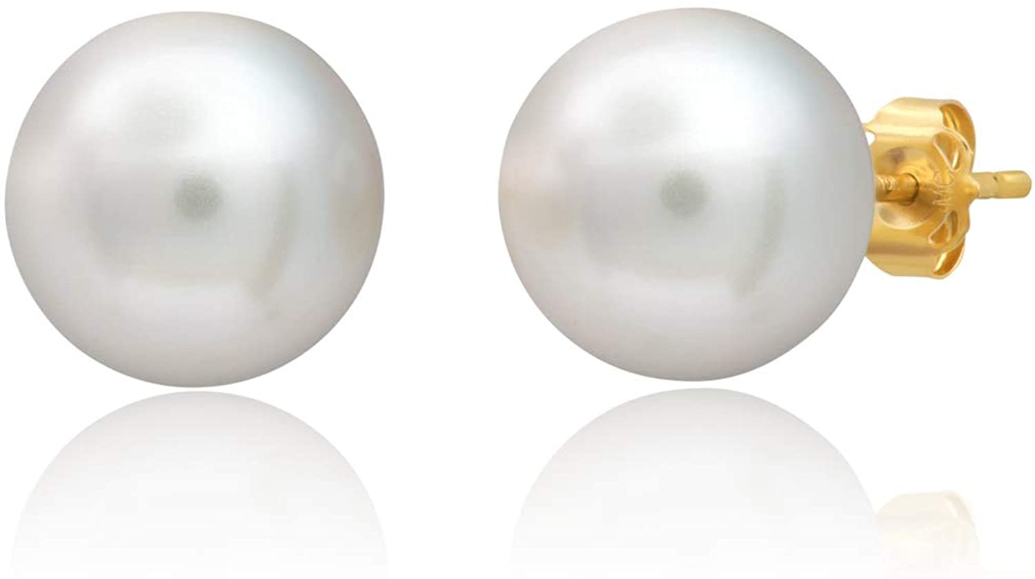 18k Solid Gold ROUND Stud Earrings with Genuine Swarovski Crystal Pearls | 5MM to 10MM | With Gift Box