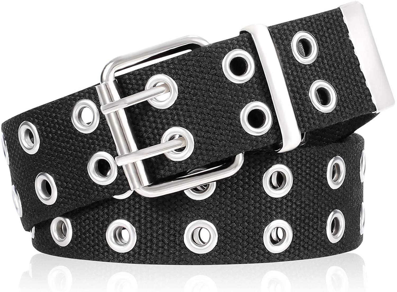 Double Grommet Canvas Web Belt 2020 Newest for Women Men Punk Nylon Belt Jeans 2 Hole Belts