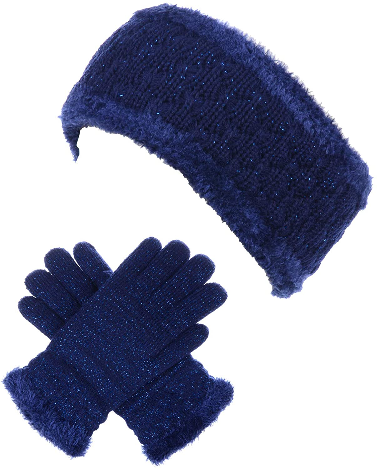 BYOS Womens Winter Cable Plush Warm Fleece Lined Knit Gloves & Headband 2 Pieces Set,Various Styles