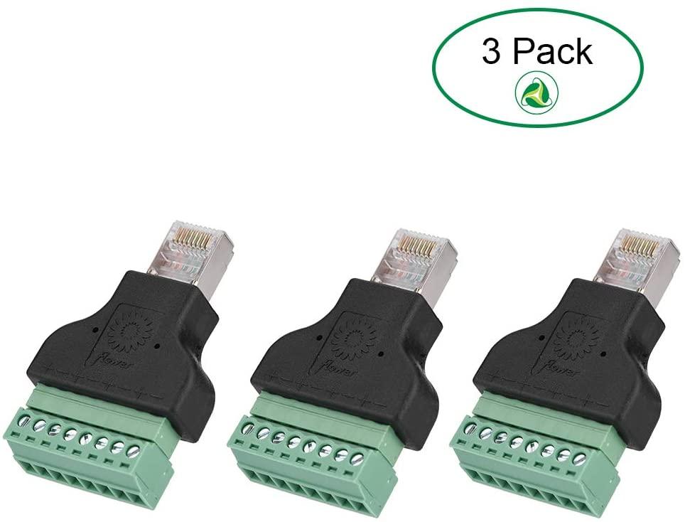 Screw Terminal Adaptor DVR Ethernet Connector RJ45 Male Jack to 8 Pin Screw Terminal Connector Replacement (3 Pack)