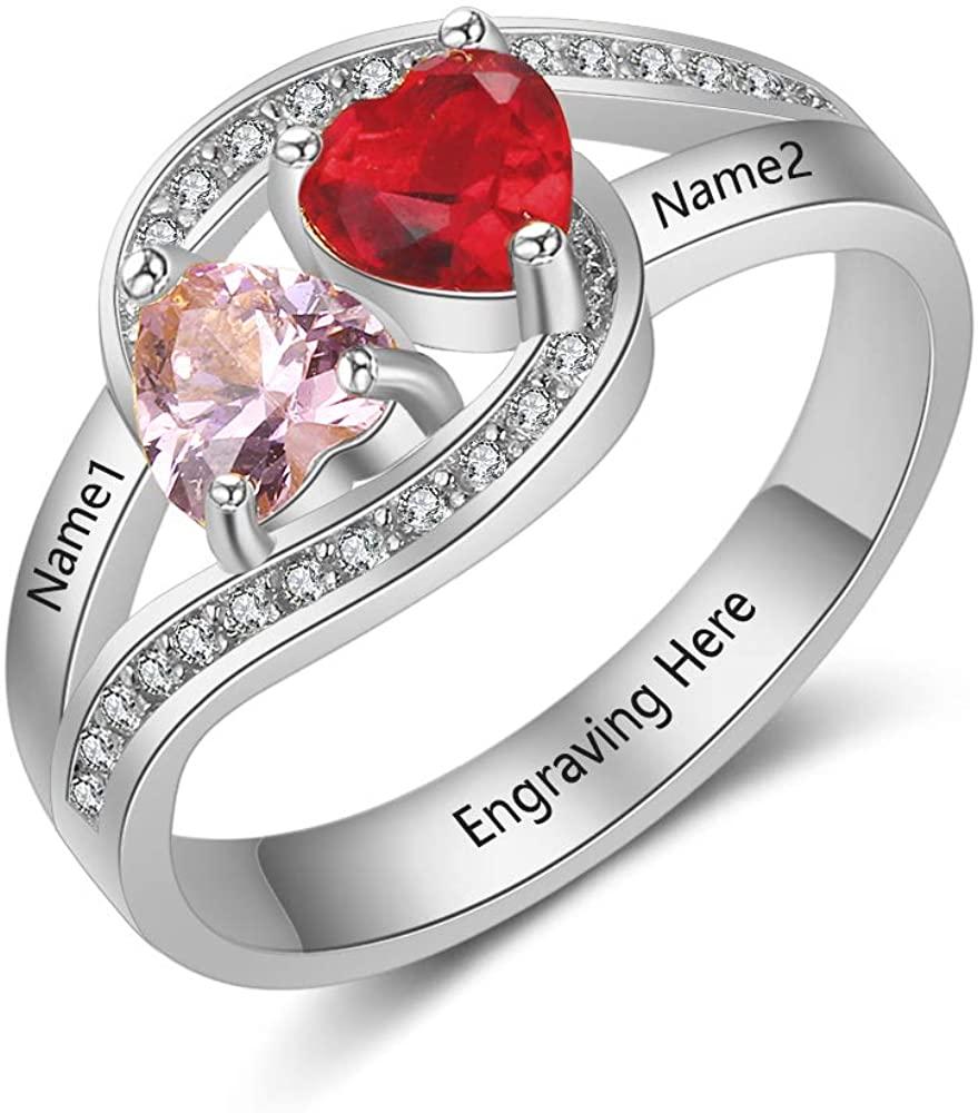 OPALSTOCK Custom Name Rings 2 Simulated Birthstones Promise Rings for Women Couple Engagement Rings for Women