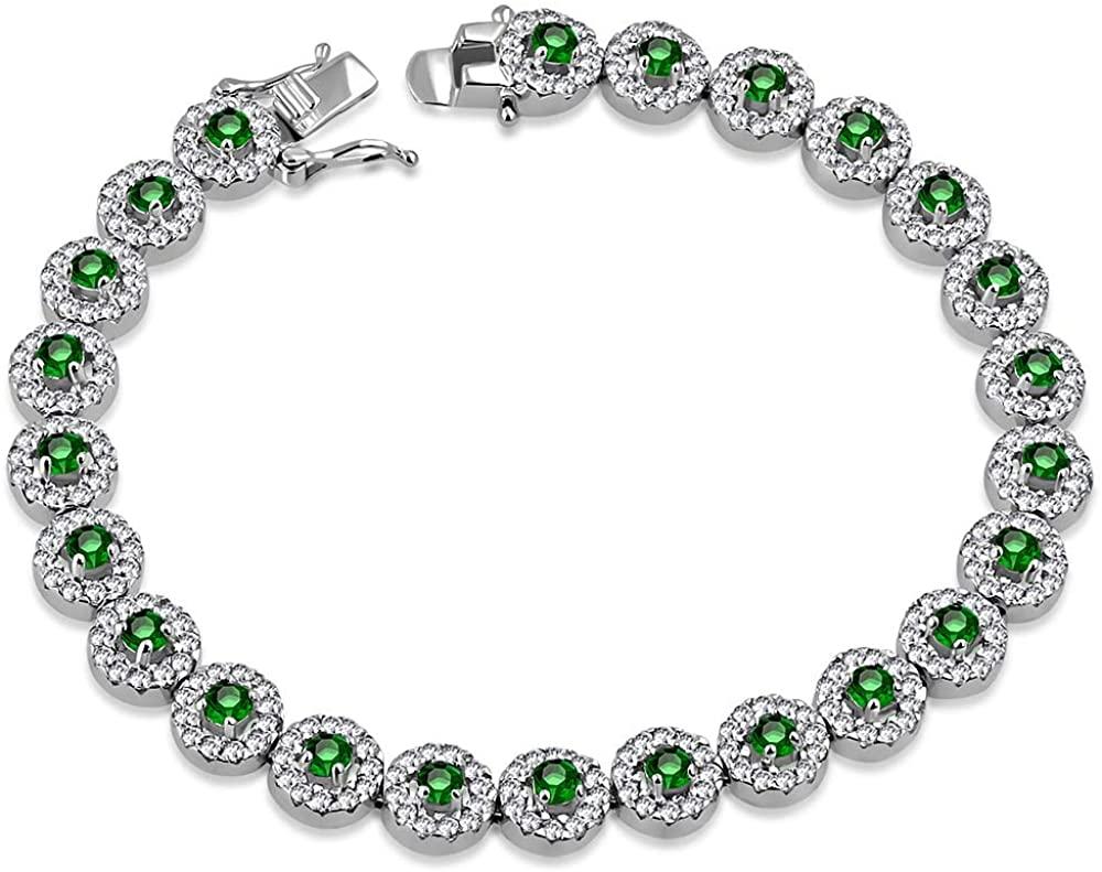 925 Sterling Silver White Clear Green Emerald-Tone CZ Tennis Bracelet, 7.25