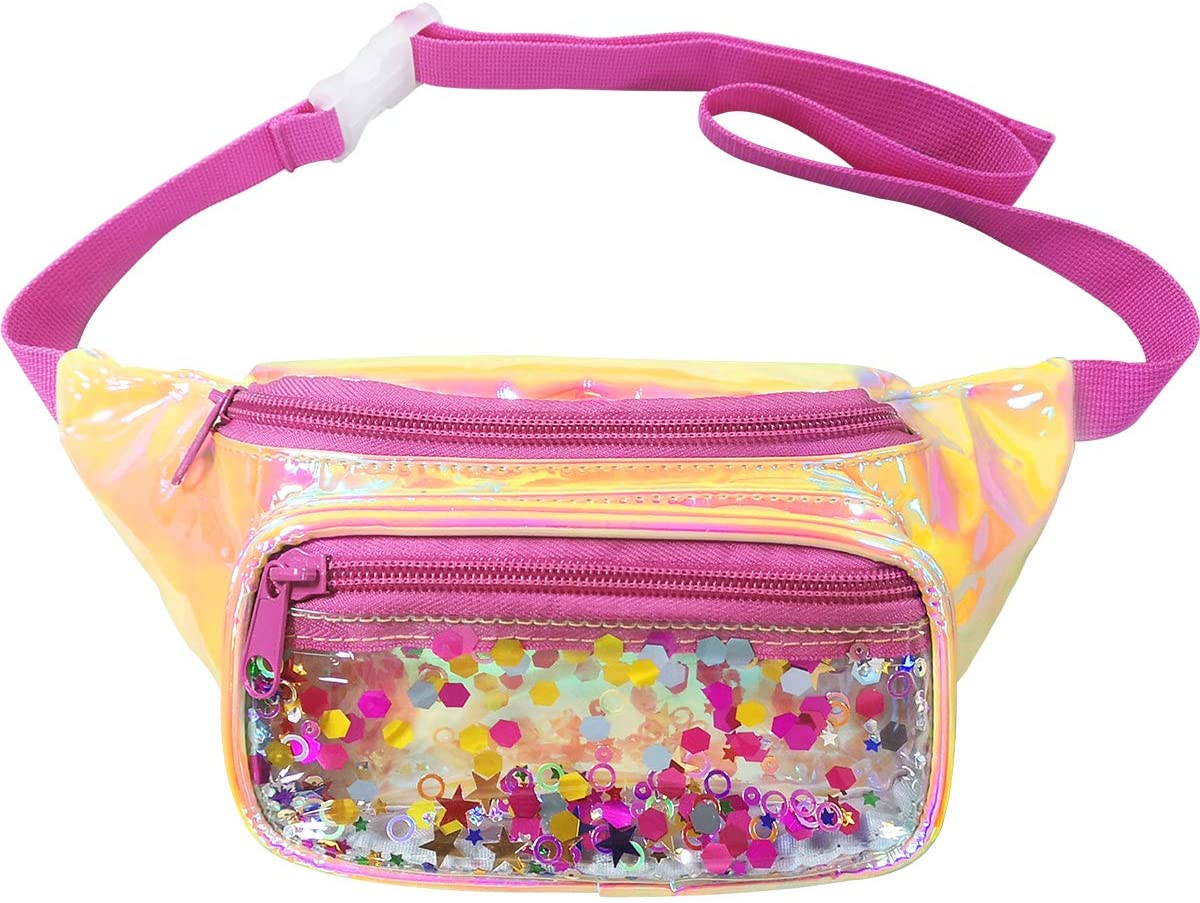 PYFK Holographic Fanny Pack Fashion Festival Waist Bag for Women Girls Shiny Bag with Adjustable Belt for Traveling, Party, Rave