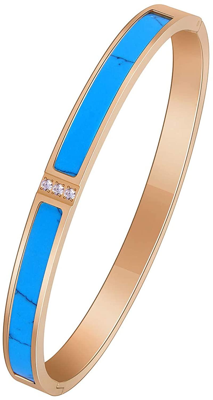 FSACAI Womens Fashion Titanium Steel Jewelry Turquoise Bracelet-Gifts Women Bracelet