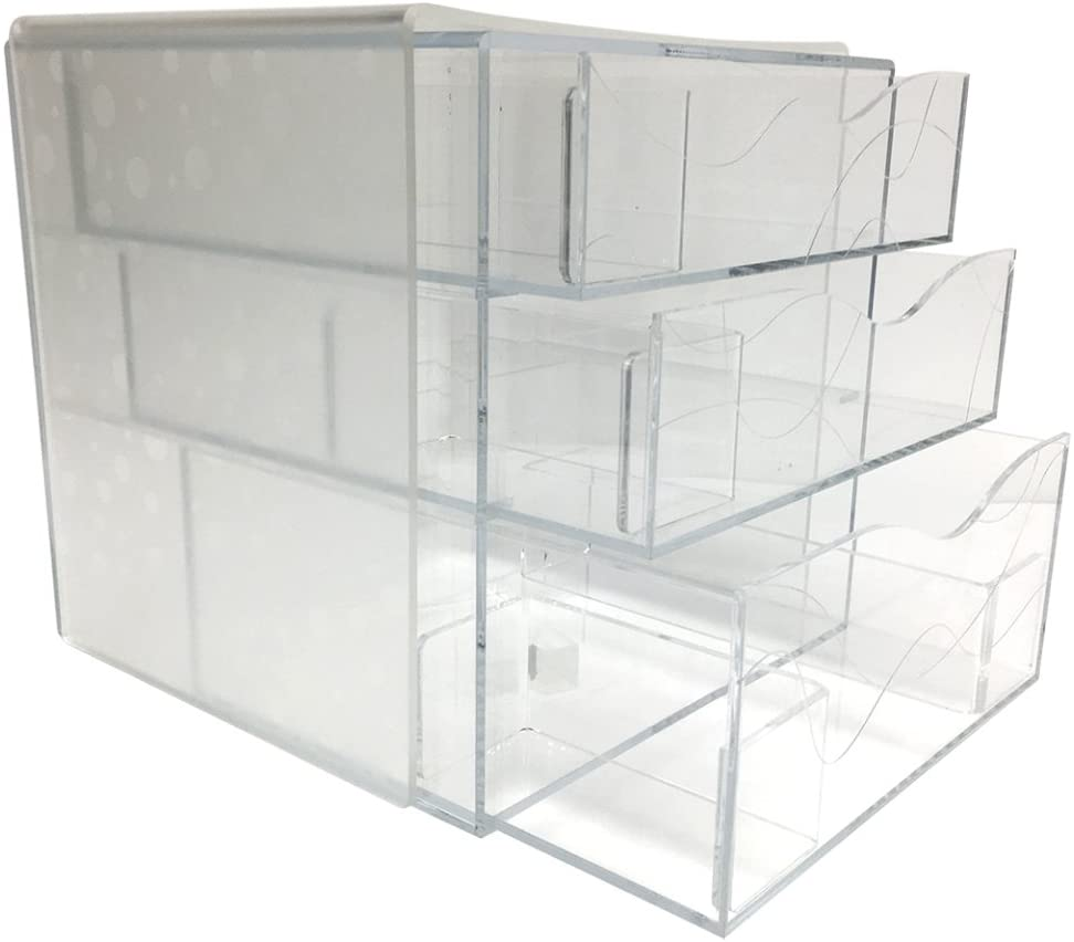 Clear Makeup Box & Cosmetics Acrylic Organizer With Removable Dividers (Circles, Large)