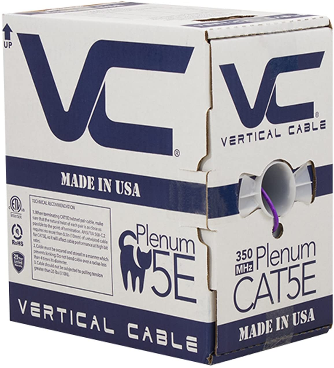 Vertical Cable CAT5E, 350 MHz, UTP, 24AWG, 8C Solid Bare Copper, Plenum, 1000ft, Purple, Bulk Ethernet Cable - Made in USA