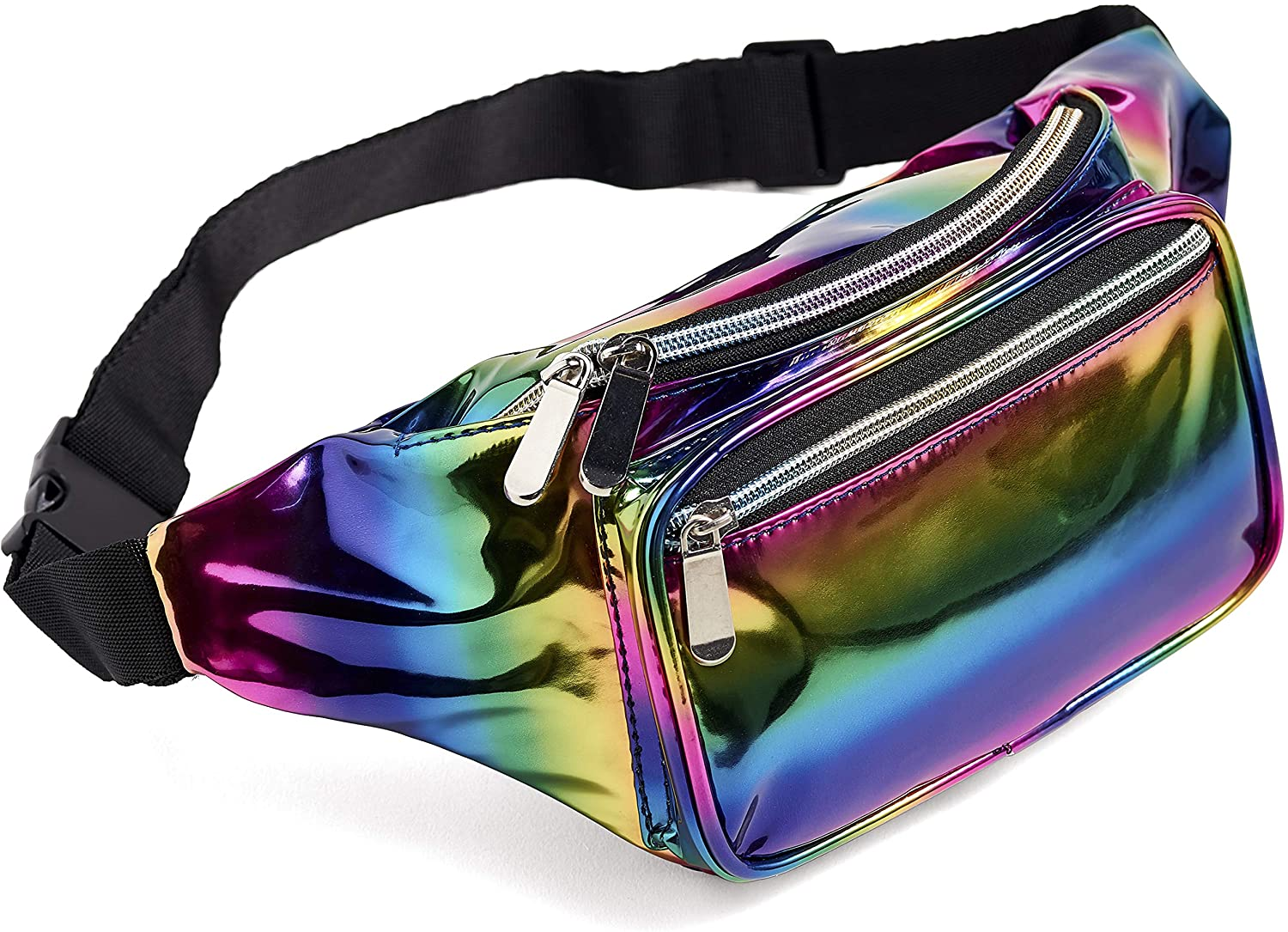 Rainbow Fanny Pack for Women Girls 80s Holographic Rave Festival Party Waist Belt Bags