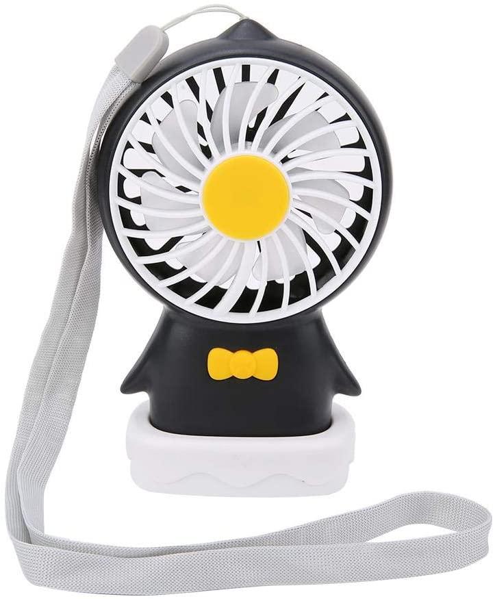 USB Mini Fan, Portable Handheld Desktop Cooling Fan with Hanging Rope 3 Speed Adjustable Indoor Outdoor Rechargeable Handle Desktop Fan for Home, Office, Travel, Outdoor.(Black)
