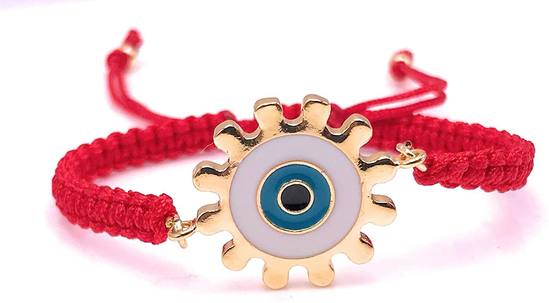 LESLIE BOULES Evil Eye Red String Woven Bracelet Adjustable Handmade Jewelry