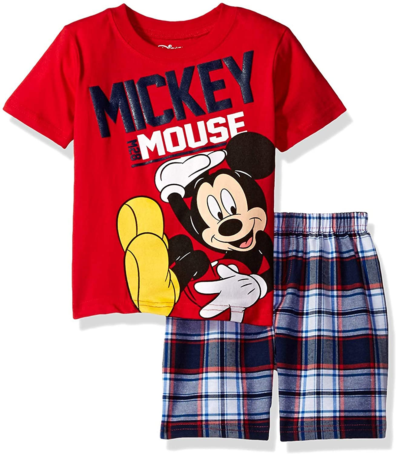 Disney Infant Baby Boys' Mickey Mouse Plaid Short Set with T-Shirt, Red 12 Months