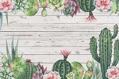 OERJU 9x6ft Cactus Floral Wood Board Backdrop Tropical Theme Happy Birthday Party Events Decorations Wallpaper Watercolor Cactus Painting Backdrop for Newborn Baby Shower Dessert Table Banner