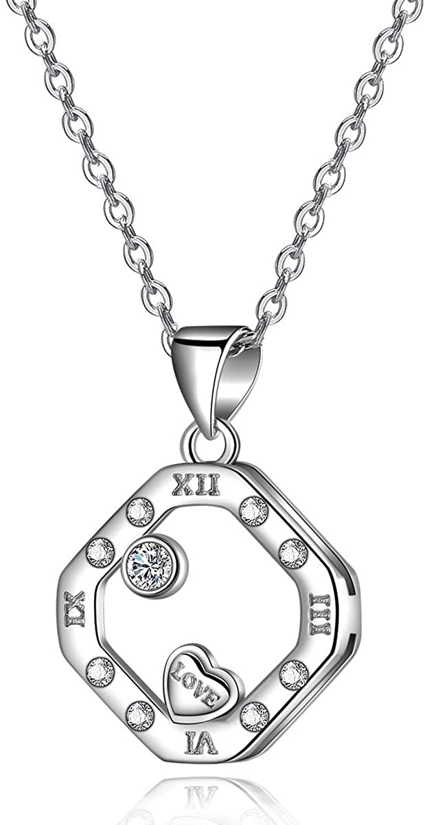 Emma Manor EM Silver Necklace for Women Roman Numeral Pendant Necklace 18k White Gold Plated 925 Sterling Silver Cubic Zirconia Love Jewelry