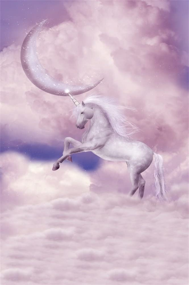 LFEEY 3x5ft Flying White Unicorn to The Moon Photography Backdrop Baby Shower Kids Birthday Party Events Decoration Wallpaper Cloudy Unicorn Theme Photo Background Photo Studio Props