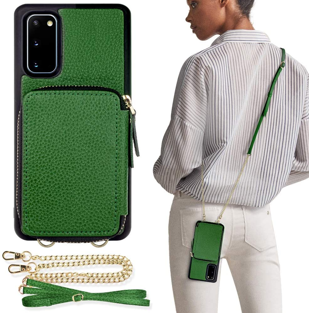 ZVE Samsung Galaxy S20 Wallet Case, Galaxy S20 Case Wallet Leather with Credit Card Holder Slots Crossbody Chain Wrist Strap Handbag Purse Screen Protective Cover Case for Galaxy S20 6.2