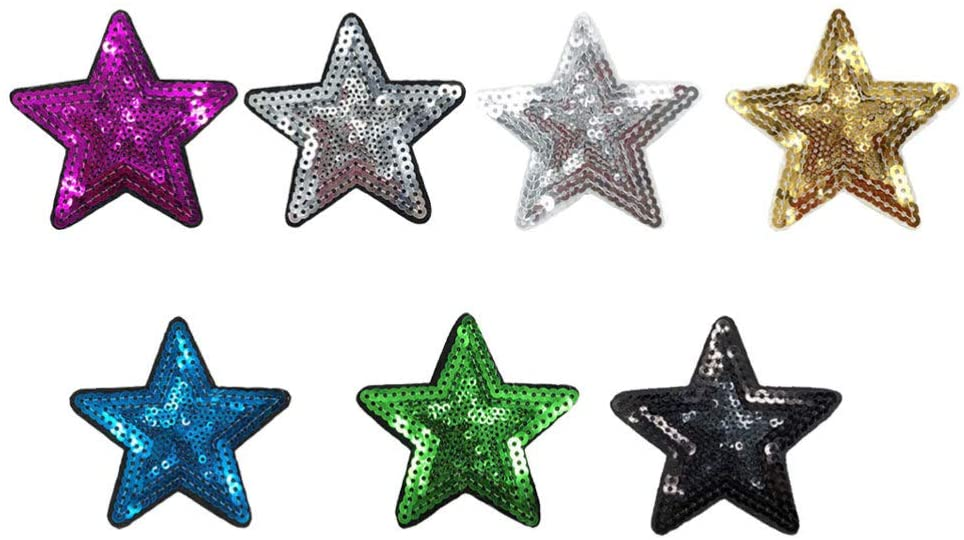 SUPVOX 7 Pcs Jeans Patch Sticker Sequins Star Sticker Sew On Applique for DIY T-Shirt Sweater Hoodie Transfer Paper
