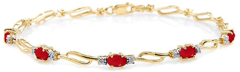 Galaxy Gold 14k Solid Yellow Gold Tennis Bracelet 4.21 ct Ruby Diamond - size 8.0