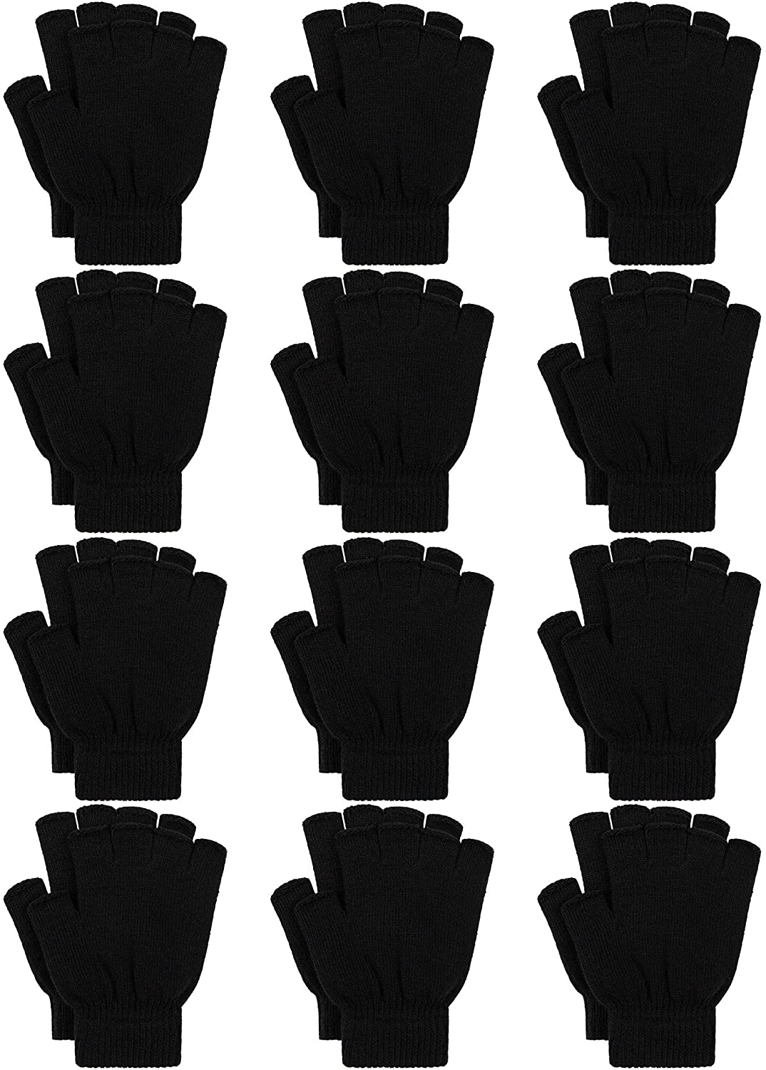Cooraby 12 Pairs Winter Half Finger Gloves Flexibly Stretchy Knit Fingerless Gloves for Typing Texting