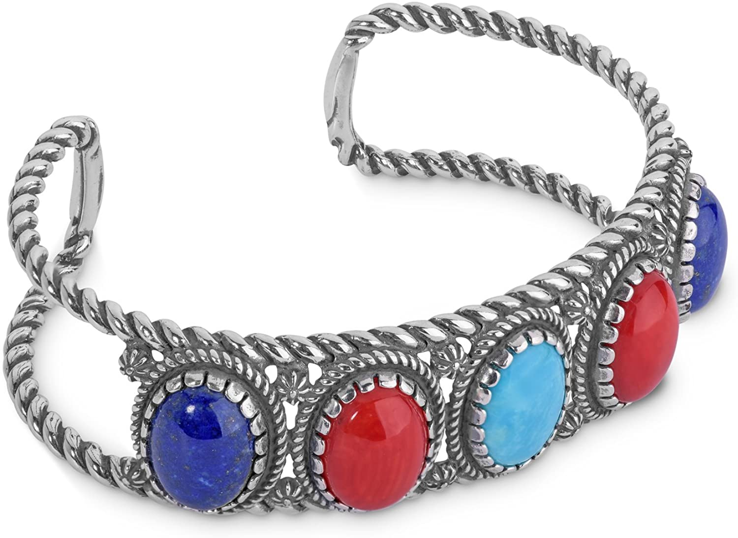 American West Sterling Silver Multi Gemstone Choice of 5 Colors 5-Stone Cuff Bracelet Size S, M or L