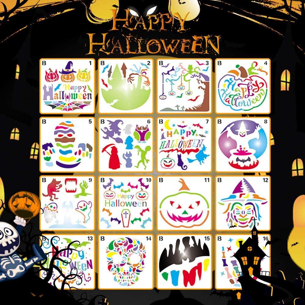 Halloween Stencils Reusable,Plastic Drawing Painting Template Theme for Pumpkin, Bat, Skeleton, Owl, Hat, Skeleton,Ghostl, Hat(16Psc-5.3X 5.3inch-B)
