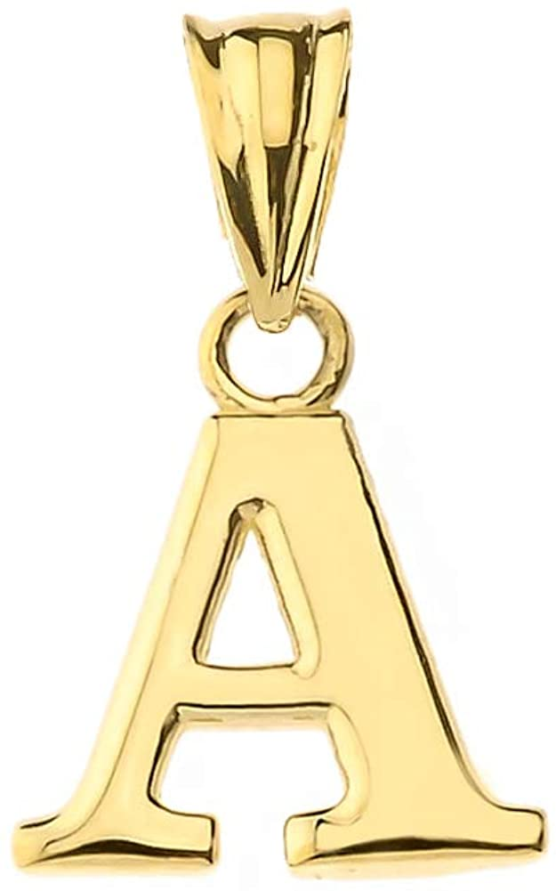 Fine Personalized Initial A-Z Charm Pendant in Solid 10k Yellow Gold