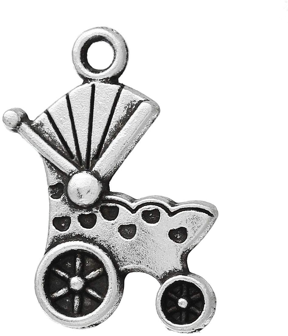 PEPPERLONELY 30pc Antiqued Silver Alloy Baby Carriage Charms Pendants 19x14mm (6/8 x 4/8)