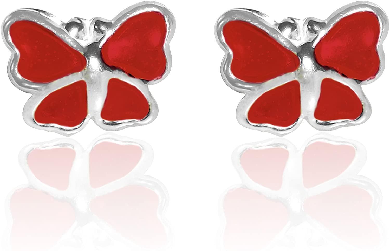 Mini Butterfly Red Enamel .925 Sterling Silver Stud Earrings