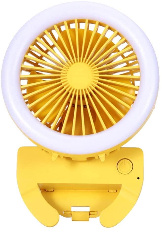 NOBRANDED USB Table Fan Portable Mini Phone Clip Personal Desk Fan with LED Light for Office Travel Bedroom Desktop