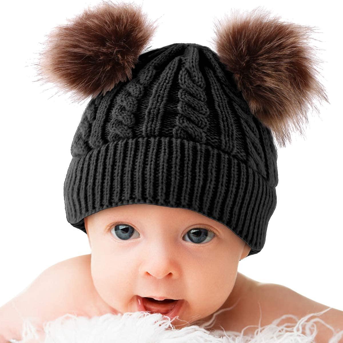 Yolispa Baby Winter Warm Knit Hat Infant Toddler Kid Double Pom Pom Beanie Cap