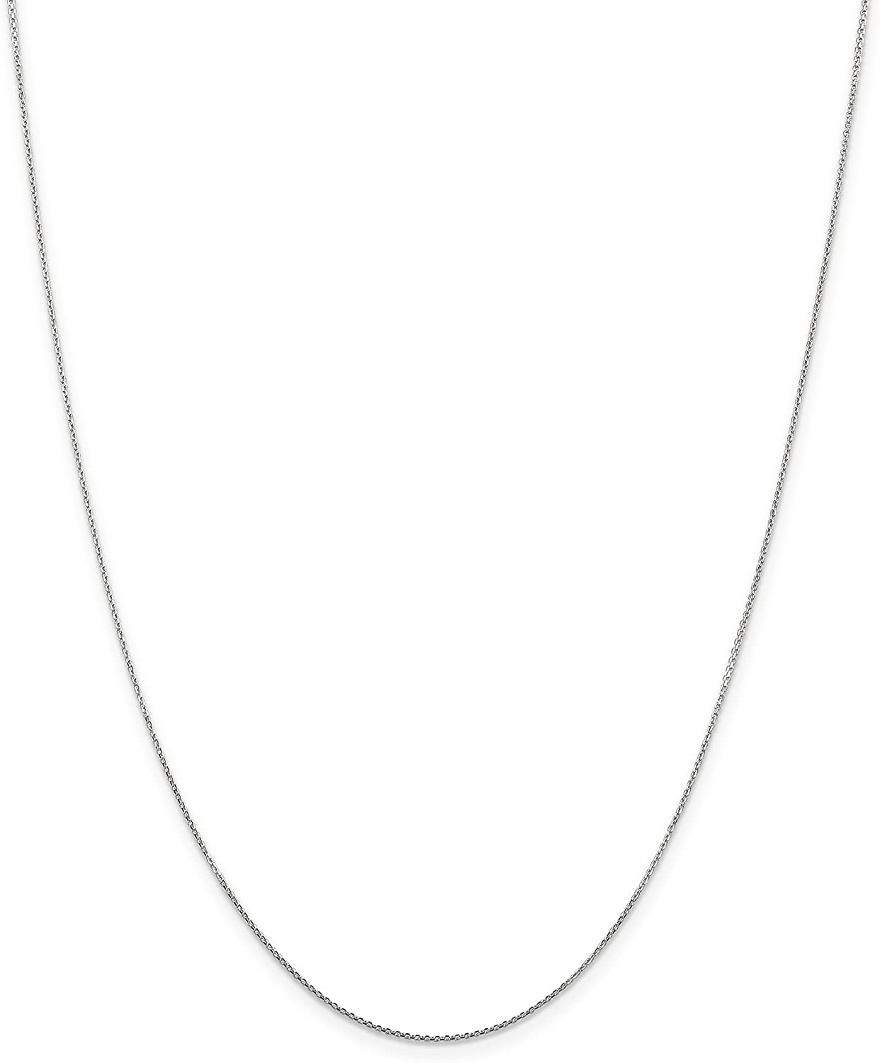 10k White Gold 0.80mm Diamond Cut Cable Chain Necklace 16 inch - 24 inch for Men Women