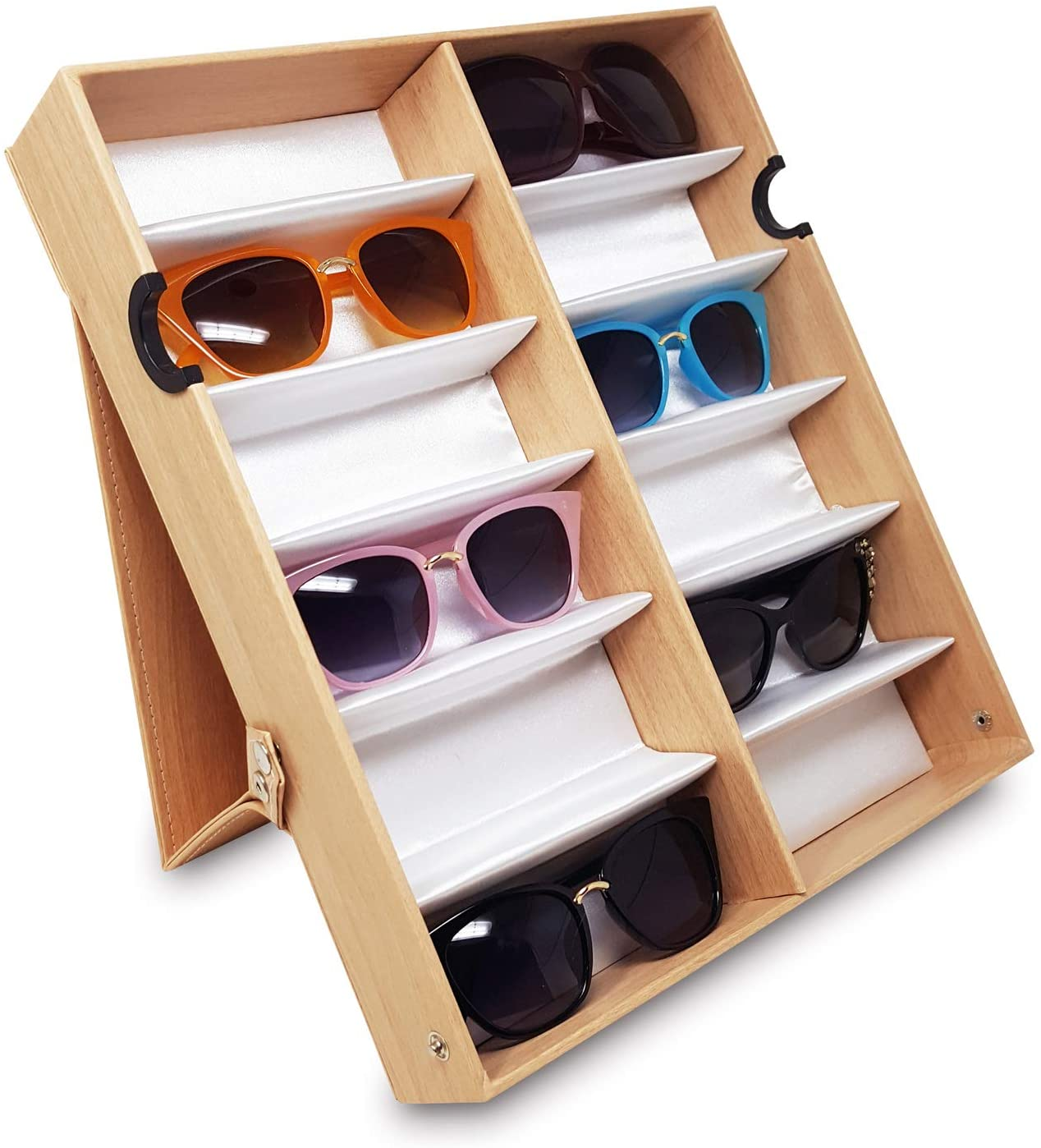 Ikee Design Eyewear Storage Organizer Box -12 Slots Sunglasses Box Display Tray Case Stand with Light Wood Pattern Cover for Eyeglasses, Watches and Jewelry, Oak, 19