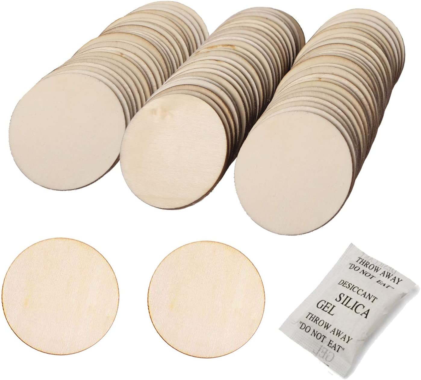 BEADNOVA Round Wood Circle Natural Unfinished Wooden Discs Plywood Circles Cutout for DIY Crafts (2 Inch, 50 Pieces)
