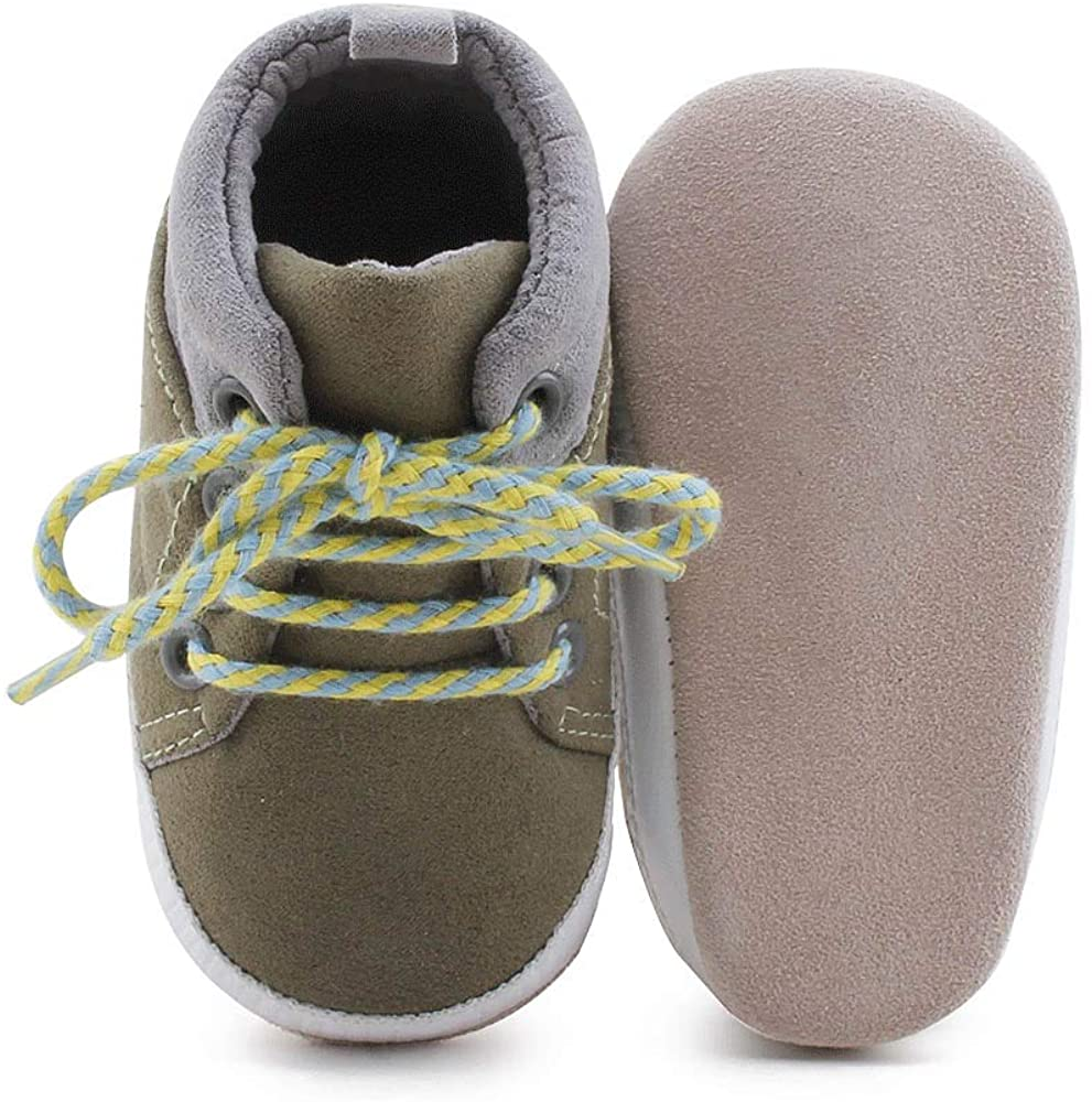 Delebao Baby Boys Girls Anti-Slip Lace Up Sneaker First Walkers Real Leather Shoes