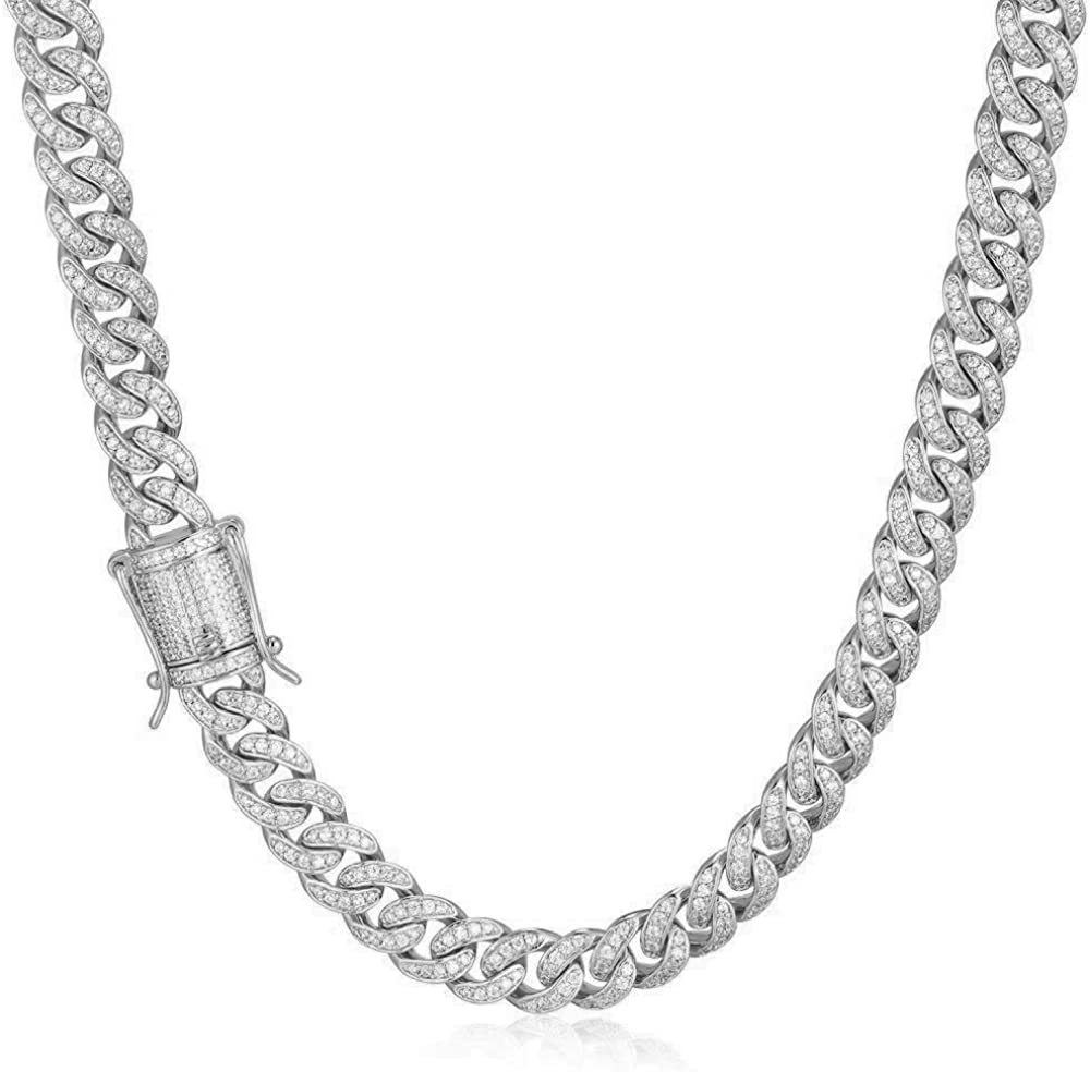 TRIPOD JEWELRY 8mm 14K or White Gold Plated Diamond Iced Out Cuban Link Chain or Bracelet - Hip Hop Miami Cuban Link Chains Gold Diamond Cuban Link Necklace Cuban Link Bracelets for Men
