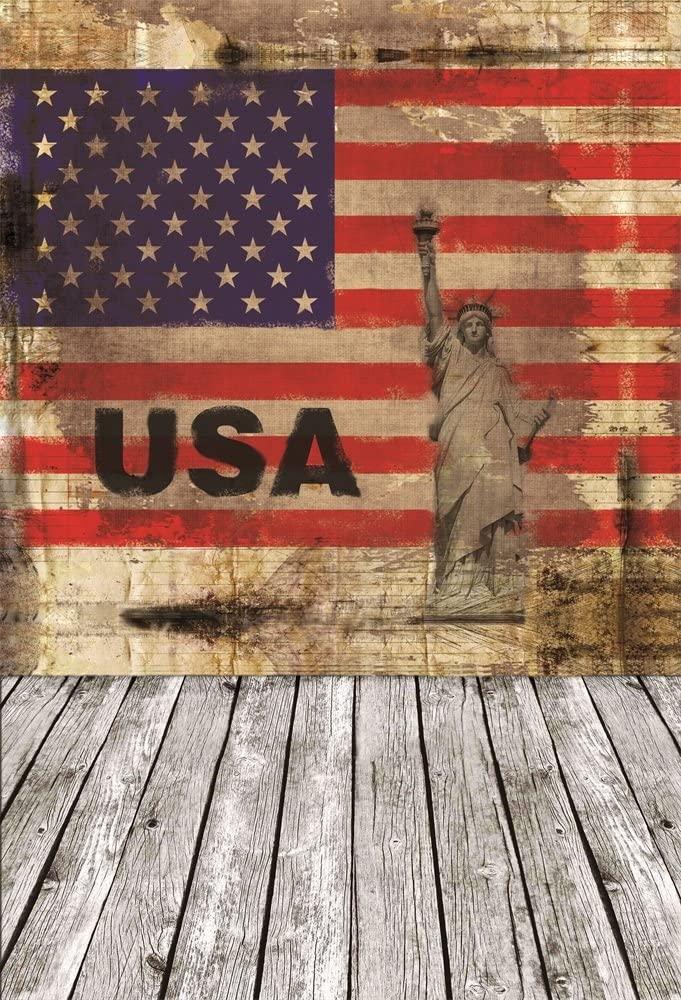 AOFOTO 3x5ft Photography Backdrop Artistic Background USA Flag Stars Stripes Statue of Liberty Shabby Wall Old Wood Floor Kid Boy Portrait Photo Studio Props Vinyl Wallpaper