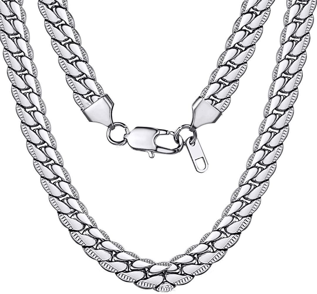 ChainsHouse Miami Cuban Link Chain 6MM-14MM Chunky Stainless Steel/18K Gold Plated Curb Necklace Jewelry for Mens Boys Womens 18-30