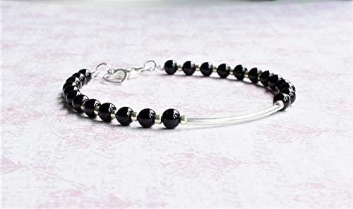 World Wide Gems Jewelry Black Czech And Silver Seed Bead Bracelet, Beaded Stacking Bracelet, Silver Bar Bracelet, Czech Glass Beads Bracelet, Minimalist Bracelet