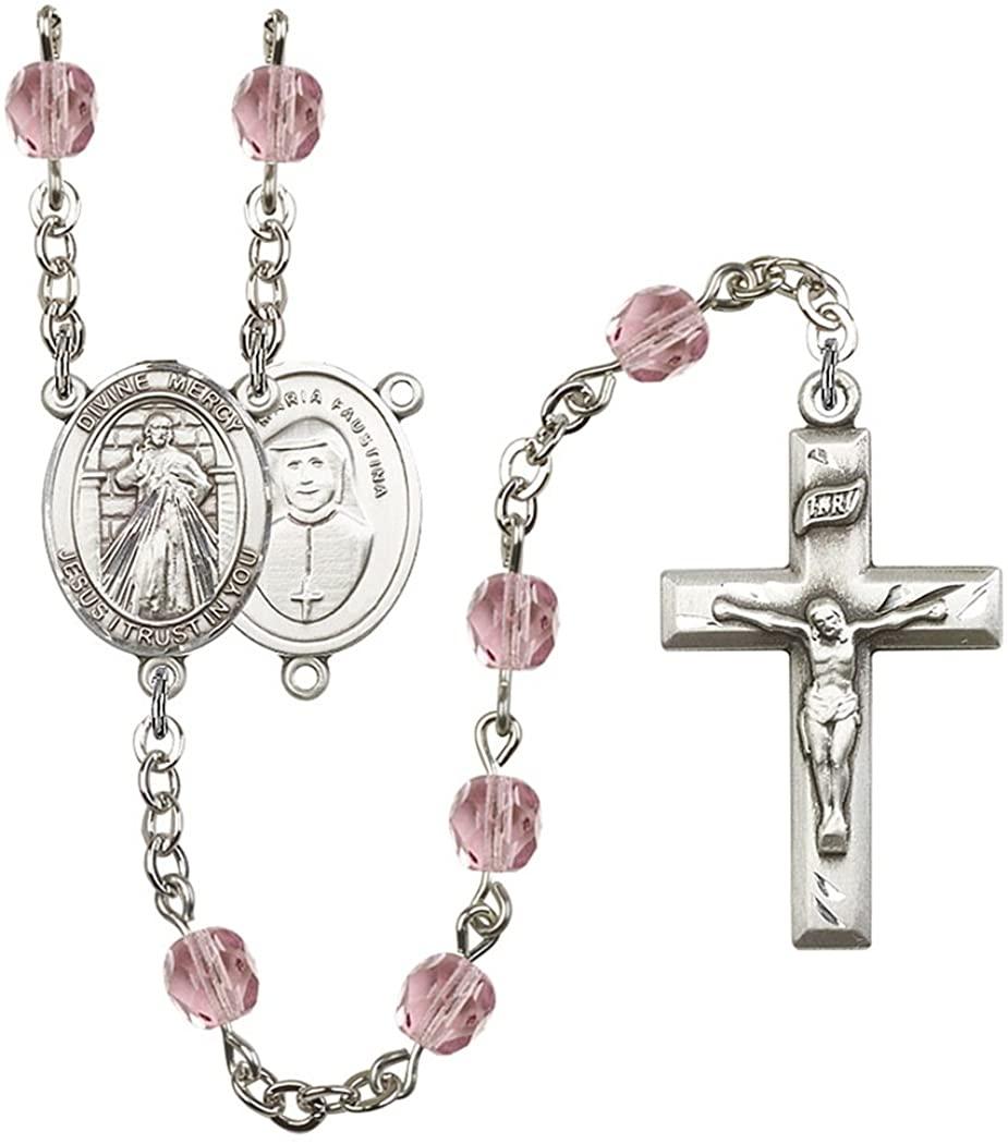 June Birth Month Prayer Bead Rosary with Patron Saint Centerpiece, 19 Inch
