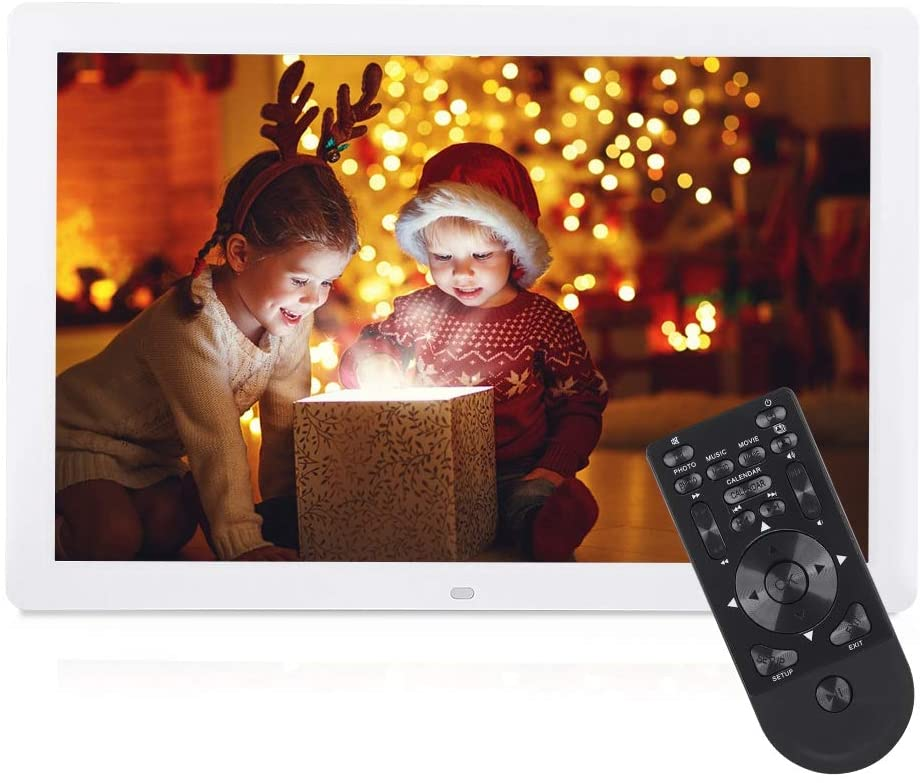 Music Photo Frame, Premium ABS Remote Control 17inch Photo Frame with 1440x900 HD Resolution and Built-in Speaker Supports MPEG MP4 AVI RMVB 1080P HD Video JPEG MP3 WMA Audio Format (White)