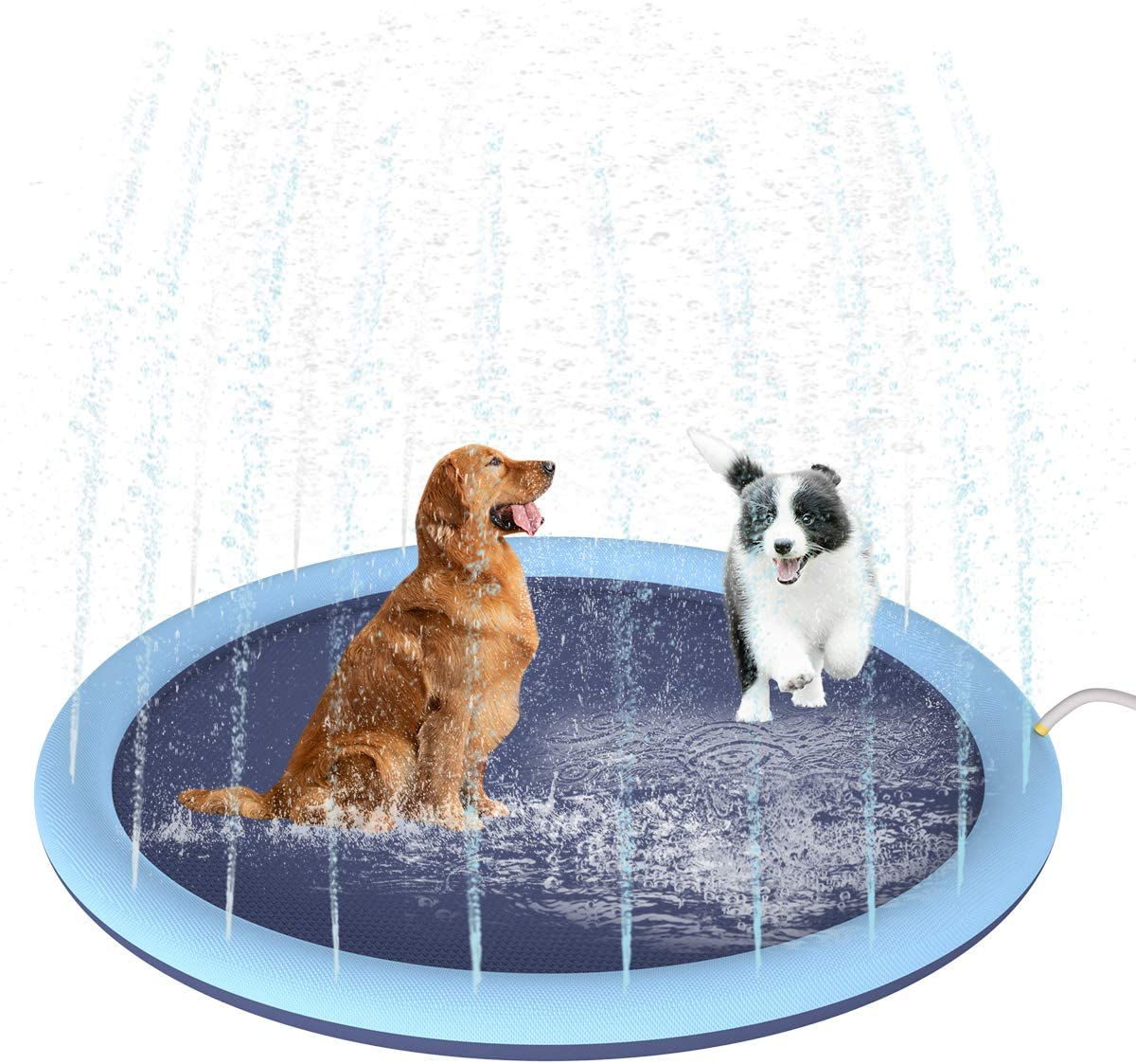 Yunnyp 59 PVC Pet Kids Water Spray Pad,Water Sprinkler Pad Play Mat Dog Bath Pool