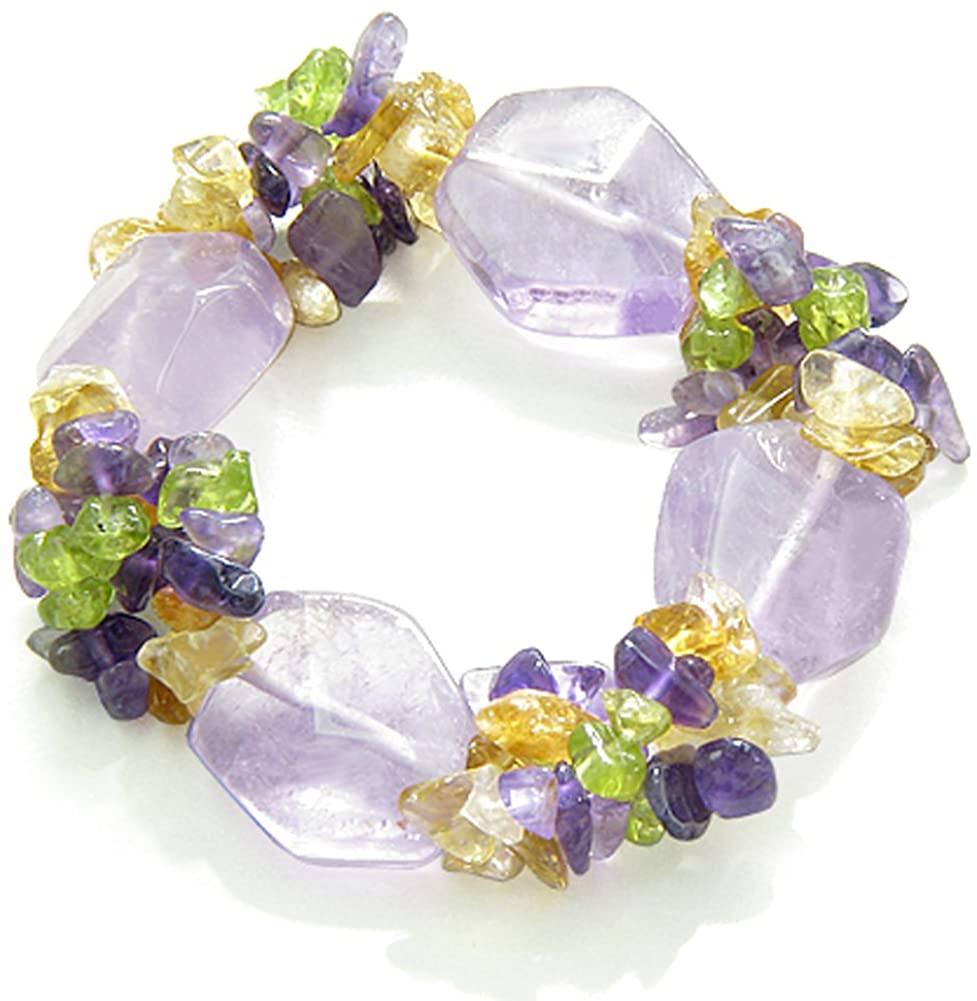 Amulet Healing Purple Quartz Crystal with Gemstone Chips Bracelet
