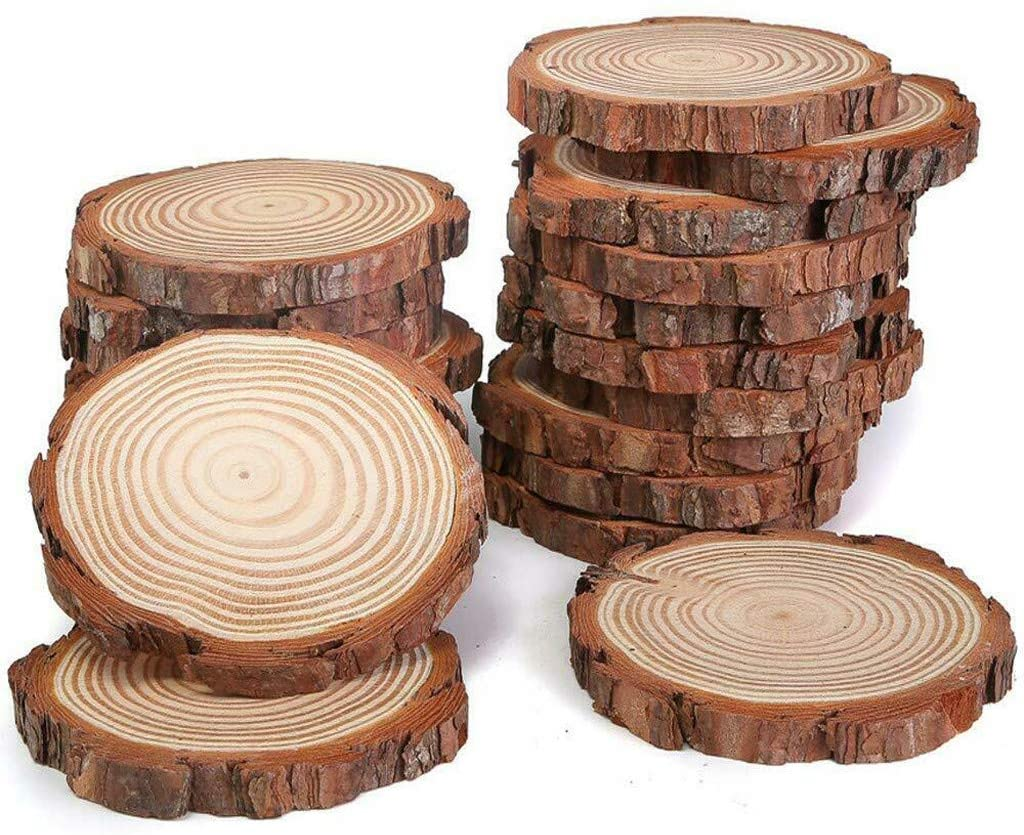 Natural Wood Slices - 12 Pcs 3.5-4 inch Craft Unfinished Wood kit Predrilled with Hole Wooden Circles for Arts Wood Slices Christmas Ornaments DIY Crafts (A)