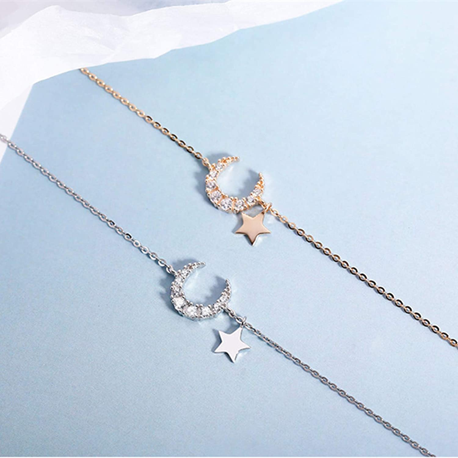 New Necklace for Women Fashion Sweet Crescent Moon and Star Pendant,Creative Planet Pendant Necklace Charming Women's Clavicle Chain Fashion Party Jewelry Titanium Steel Necklace