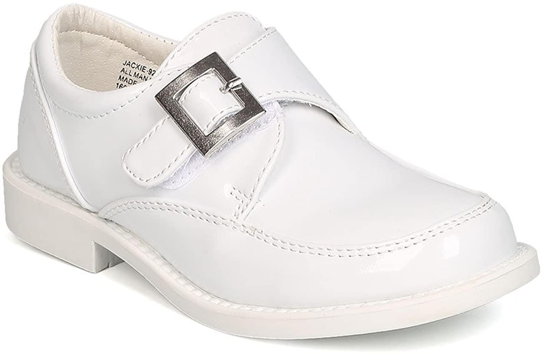 Auston Boys Patent Leatherette Single Buckle Hook and Loop Uniform Shoe GB32