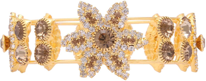 Efulgenz Indian Bridal Cubic Zirconia Crystal Cuff Bracelet Wedding Jewelry for Brides Bridesmaid Women Girls