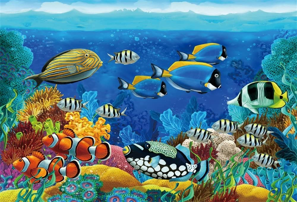 LFEEY 10x7ft Underwater Seabed World Backdrop Colorful Fishes Corals Under The Sea Photography Background Kids Birthday Party Decoration Wallpaper Photo Booth Studio Props