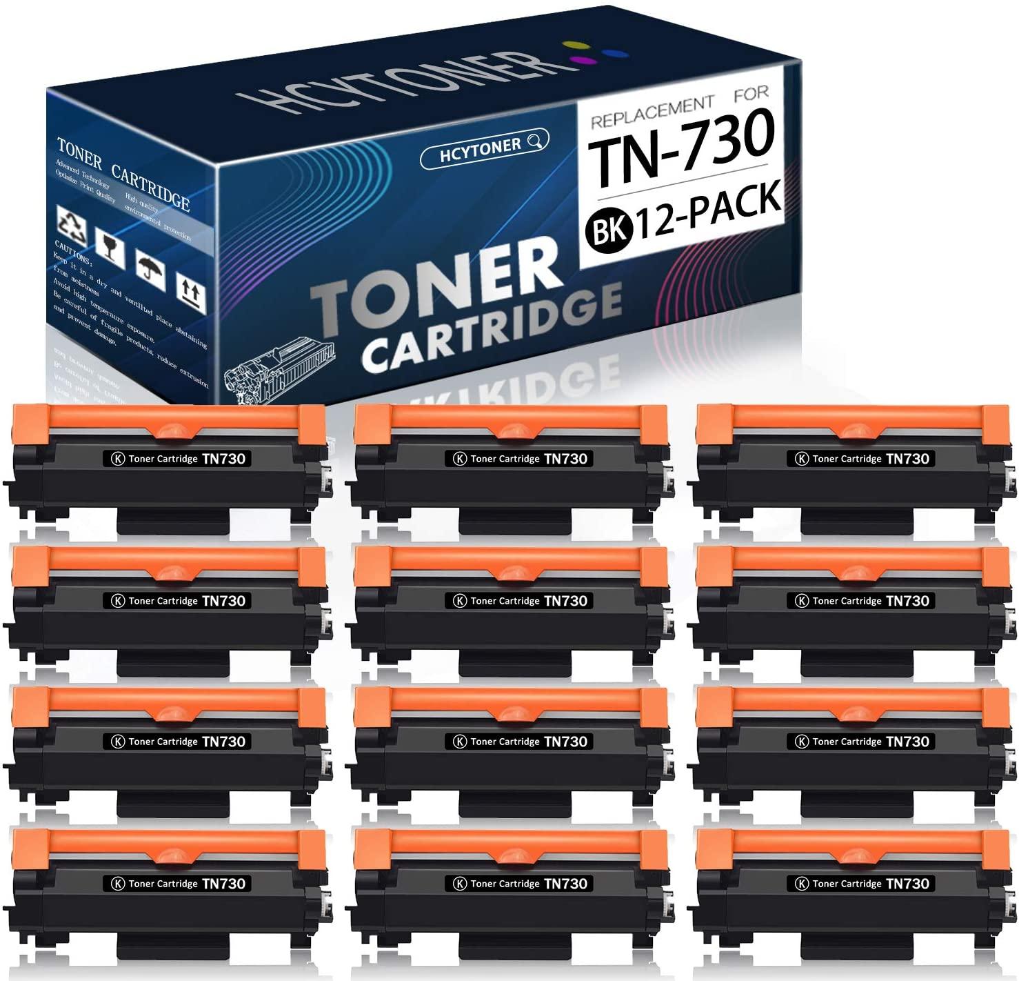 (12-Pack,Black) TN730 TN-730 Toner Cartridge Replacement for Brother Cartridge TN730 Toner Compatible DCP-L2550DW MFC-L2710DW L2750DW L2750DWXL HL-L2350DW L2370DW/DWXL HL-L2390DW L2395DW Printer
