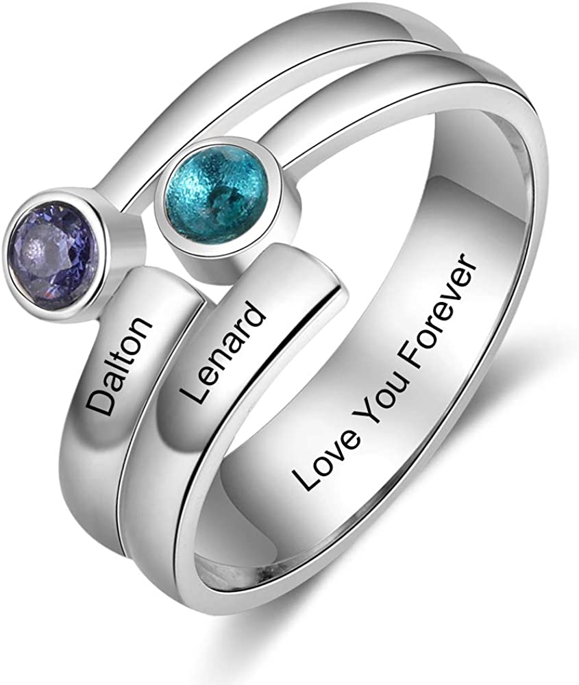 Lam Hub Fong Personalized Mothers Ring 2 Simulated Birthstones Custom Sterling Silver Promise Rings for Her Engagement Name Rings for Women