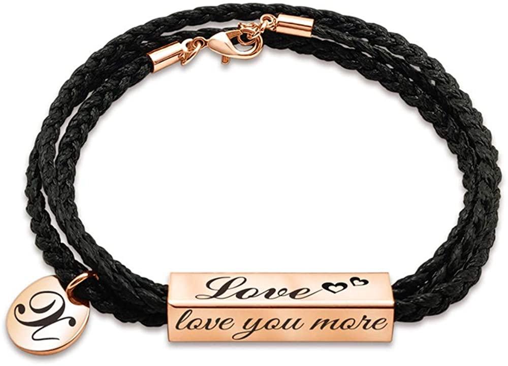 Stainless Steel Bracelet Custom Name Bracelet Personalized Bracelet Unisex Braided Rope Bracelet