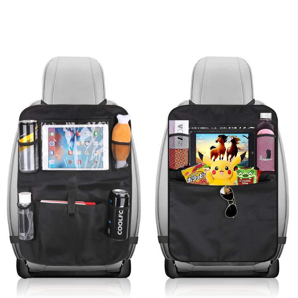 KLYDZ Car Backseat Organizer with 5 Storage Pockets, 2 Packs Waterproof and Durable Car Seat Organizer Kick Mats, Car Travel Accessories(Black)