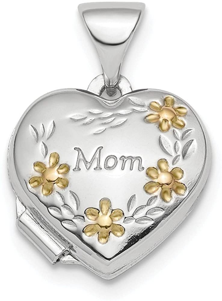 925 Sterling Silver Gold Tone Floral Mom Heart Photo Pendant Charm Locket Chain Necklace That Holds Pictures Fine Jewelry For Women Gifts For Her